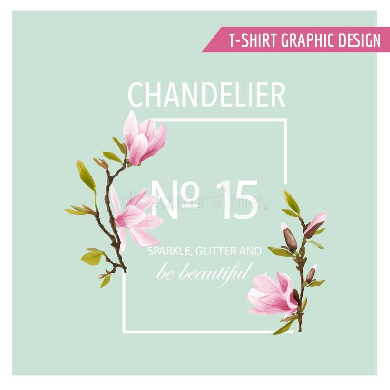Kwiecistej wiosny Graficzny projekt z Magnoliowymi kwiatami - ilustracja wektor