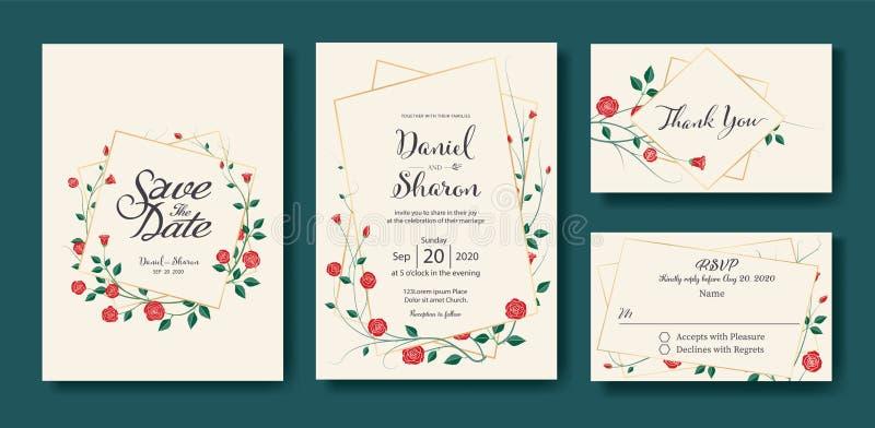 Kwiecisty ślubny zaproszenie oprócz daty, dziękuje ciebie, rsvp karcianego projekta szablon wektor Rocznik czerwieni róży kwiatu  ilustracji
