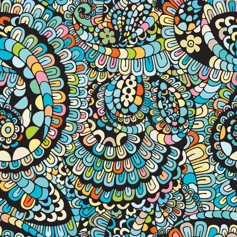 Kwiecisty żywy abstrakt fala ornament, ręka rysująca wektorowa ilustracja robić prości doodles Zen gmatwaniny wzór, kołtuniasta t ilustracja wektor