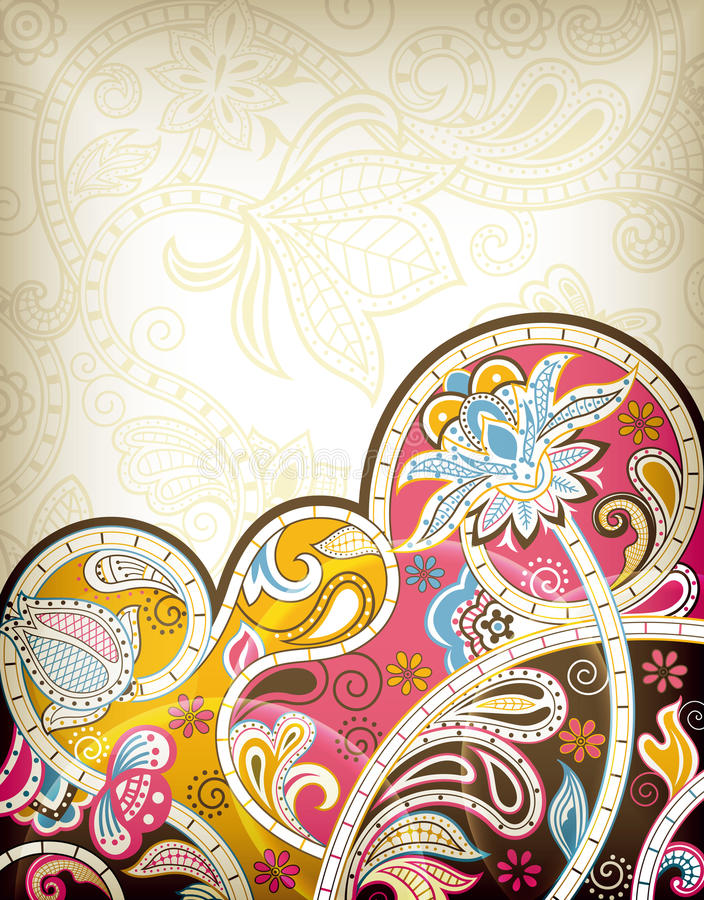 kwiecisty abstrakcjonistyczny Asia royalty ilustracja