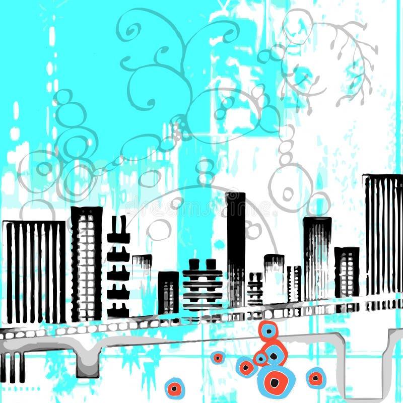 kwiecisty abstrakcjonistyczny miasto royalty ilustracja