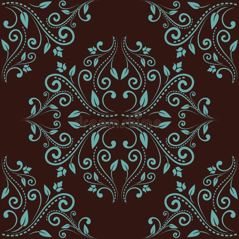 Kwiecisty adamaszkowy bezszwowy deseniowy tło ilustracja wektor