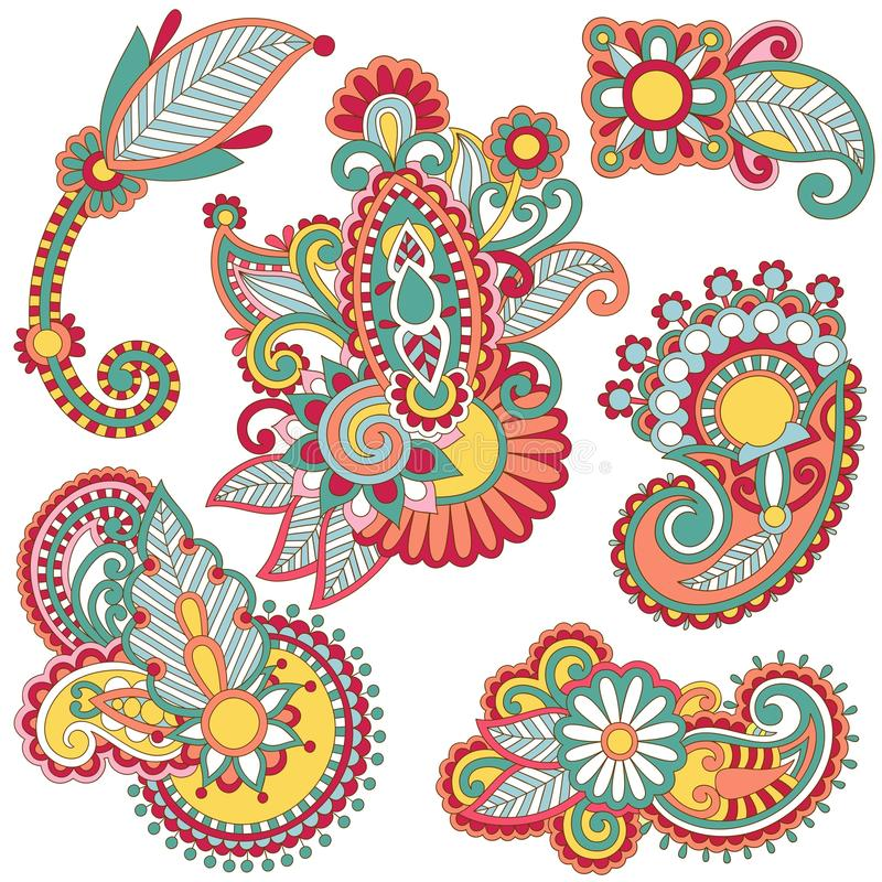 kwiecisty barwiony element ilustracja wektor