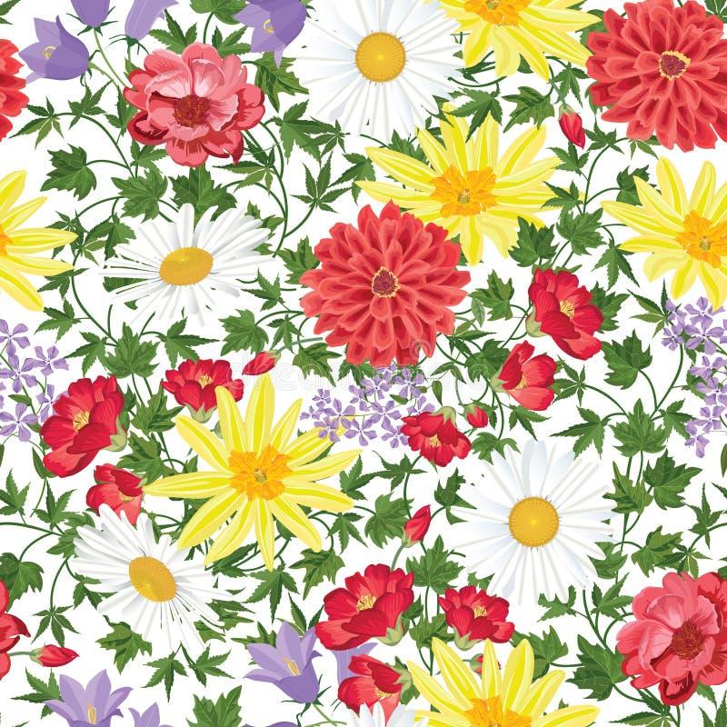 Kwiecisty bezszwowy deseniowy kwiatu tło Kwiecisty bezszwowy textu ilustracja wektor