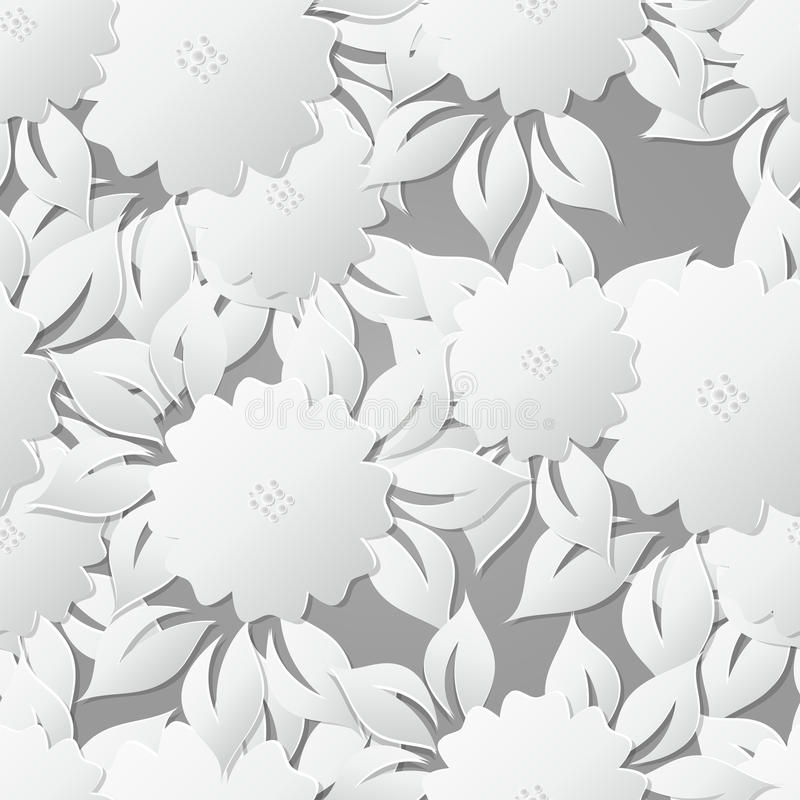 Kwiecisty Bezszwowy Deseniowy tło z 3D elementami z cieniem ilustracja wektor