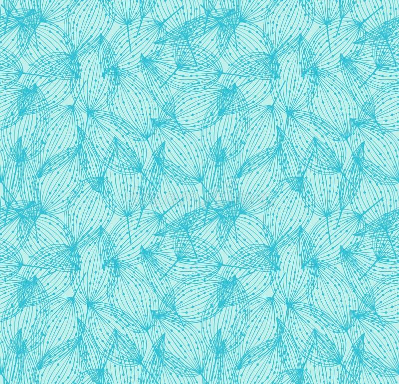 Kwiecisty bezszwowy deseniowy Turkusowy liniowy tło z liśćmi royalty ilustracja