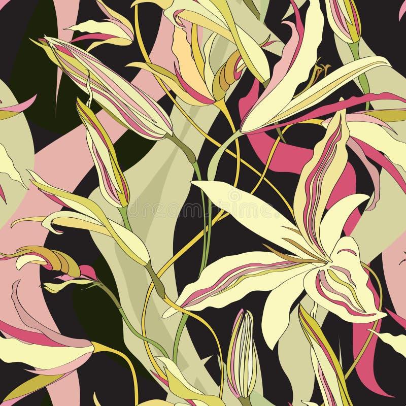 Kwiecisty bezszwowy tło. Abstrakcjonistycznego kwiatu Bezszwowa tekstura ilustracja wektor