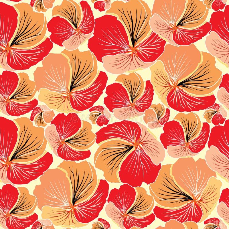 Kwiecisty bezszwowy tło. Czerwony kwiatu wzór. royalty ilustracja
