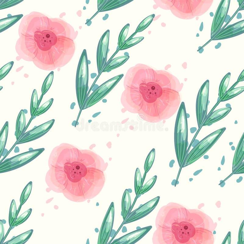 Kwiecisty bezszwowy wektoru wzór z akwareli peonią kwitnie Powtarza tło z zielonym liściem i pastelowe menchie kwitną royalty ilustracja
