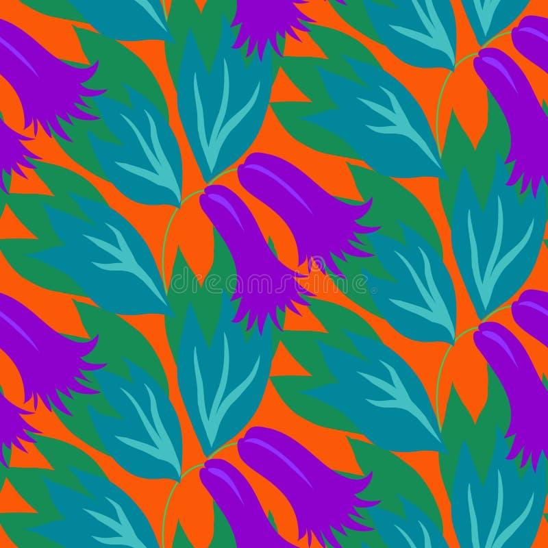 Kwiecisty bezszwowy wektoru wzór z dzwonkowymi kwiatami ilustracji
