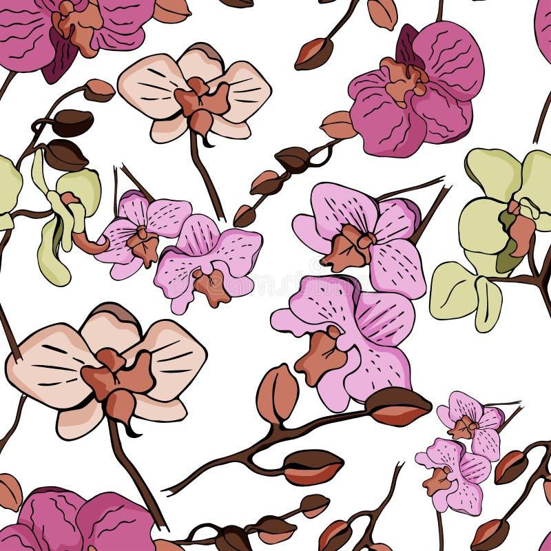 Kwiecisty bezszwowy wektoru wzór z orchideą royalty ilustracja
