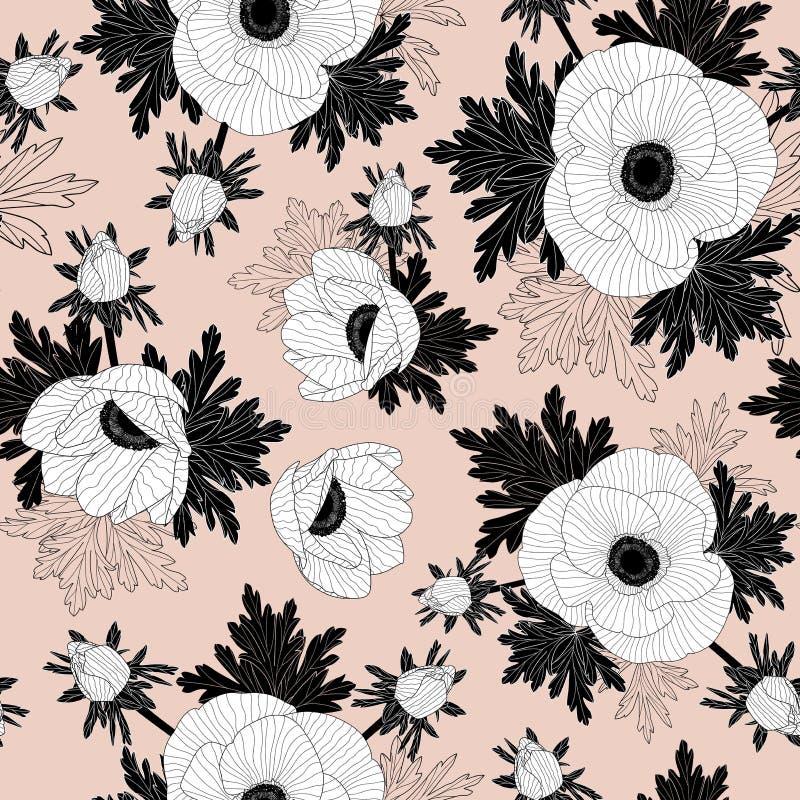 Kwiecisty bezszwowy wektoru wzór z pięknym anemonem kwitnie na różowym tle royalty ilustracja