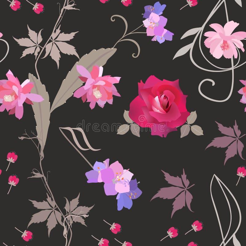 Kwiecisty bezszwowy wzór z treble clef i stylizowany akord w kształcie kwiaty, czerwieni róża, pączki, gałąź dziewiczy winograd royalty ilustracja