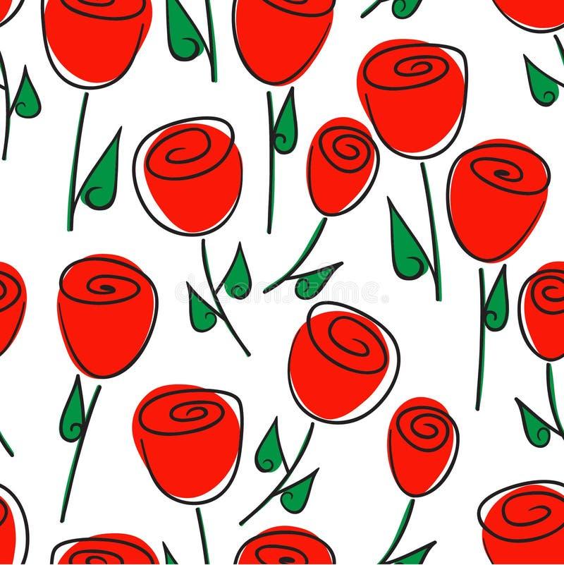 Kwiecisty bezszwowy wzór czerwone róże i stylizujący kwiaty ilustracja wektor