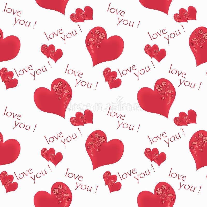 Kwiecisty bezszwowy wzór kwitnie czerwonych serc białego tło z okręgami ilustracji