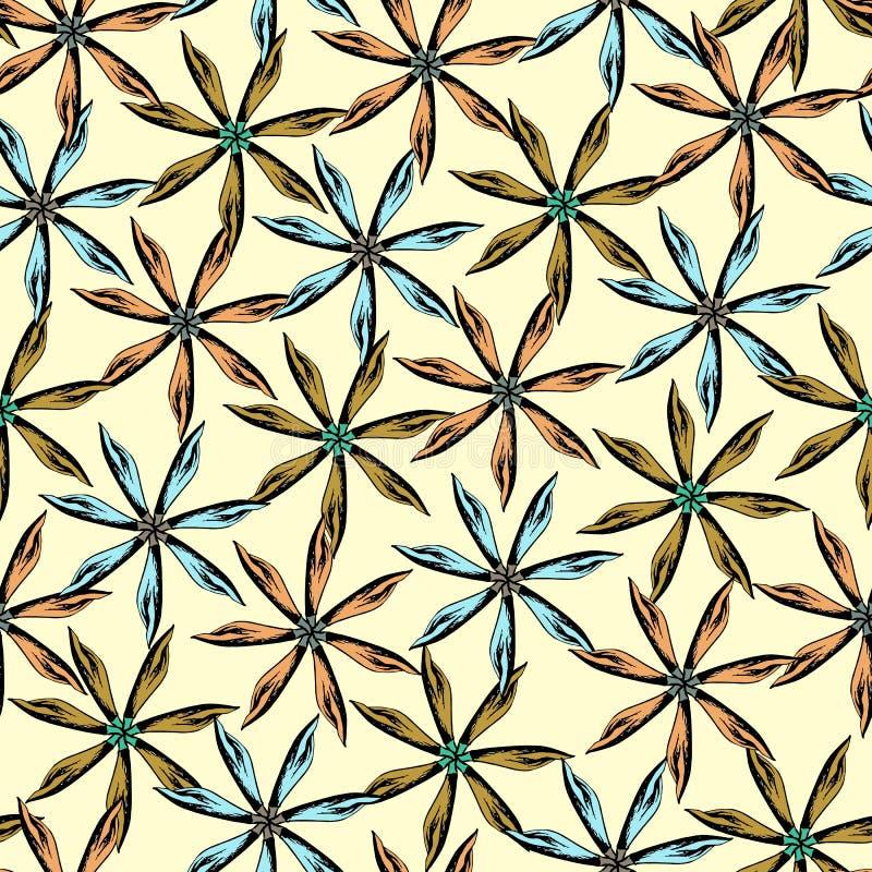 Kwiecisty bezszwowy wzór na żółtym tle rysująca kwiecista tekstura Ornament od goździka dla dekoracji tkanina, płytka i ilustracja wektor