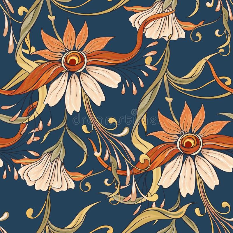 Kwiecisty bezszwowy wzór, tło W sztuki nouveau stylu, royalty ilustracja