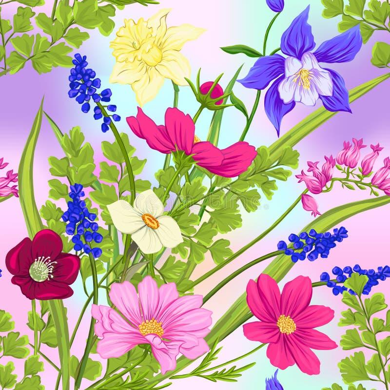 Kwiecisty bezszwowy wzór, tło z wiosną kwitnie ilustracji