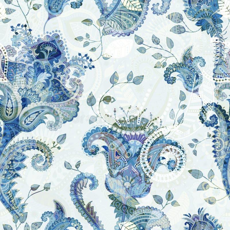 Kwiecisty bezszwowy wzór, tekstura skutek Indiański kolorowy ornament Wektorowi dekoracyjni kwiaty i Paisley Etniczny styl royalty ilustracja