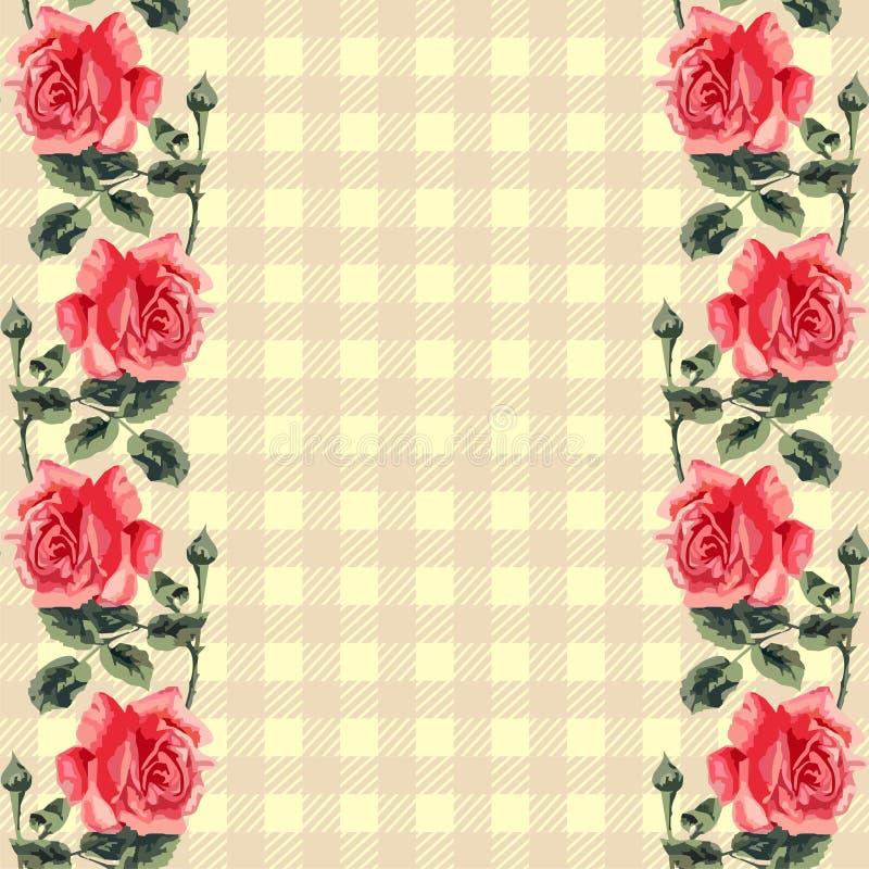 Kwiecisty bezszwowy wzór, tkanina tartan. (róże) royalty ilustracja