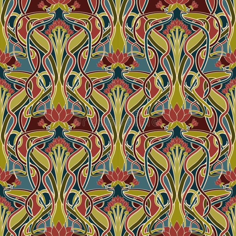 Kwiecisty bezszwowy wzór w sztuki nouveau stylu, wektor ilustracja wektor