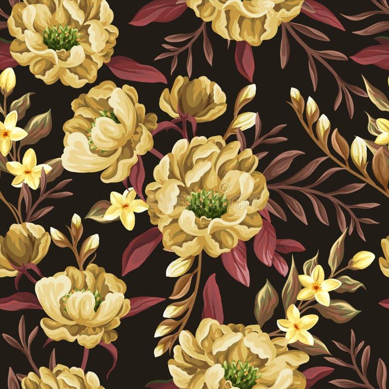 Kwiecisty bezszwowy wzór z żółtymi peoniami ilustracja wektor