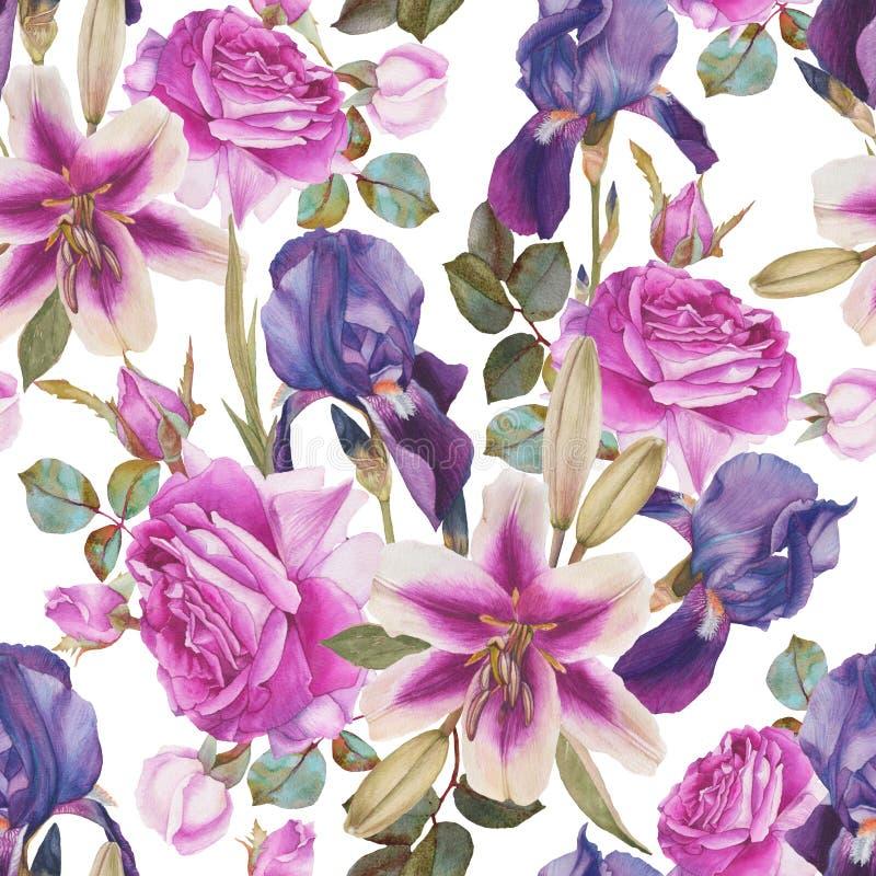 Kwiecisty bezszwowy wzór z akwareli lelujami, purpurowymi różami i fiołkowym irysem, royalty ilustracja