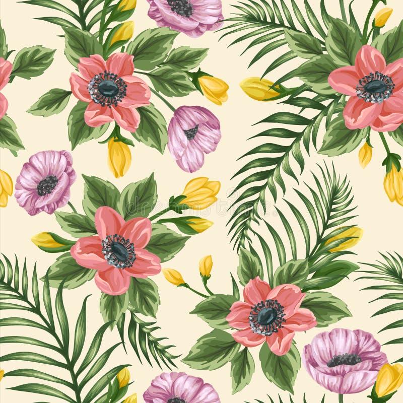 Kwiecisty bezszwowy wzór z anemonami i maczkami ilustracja wektor