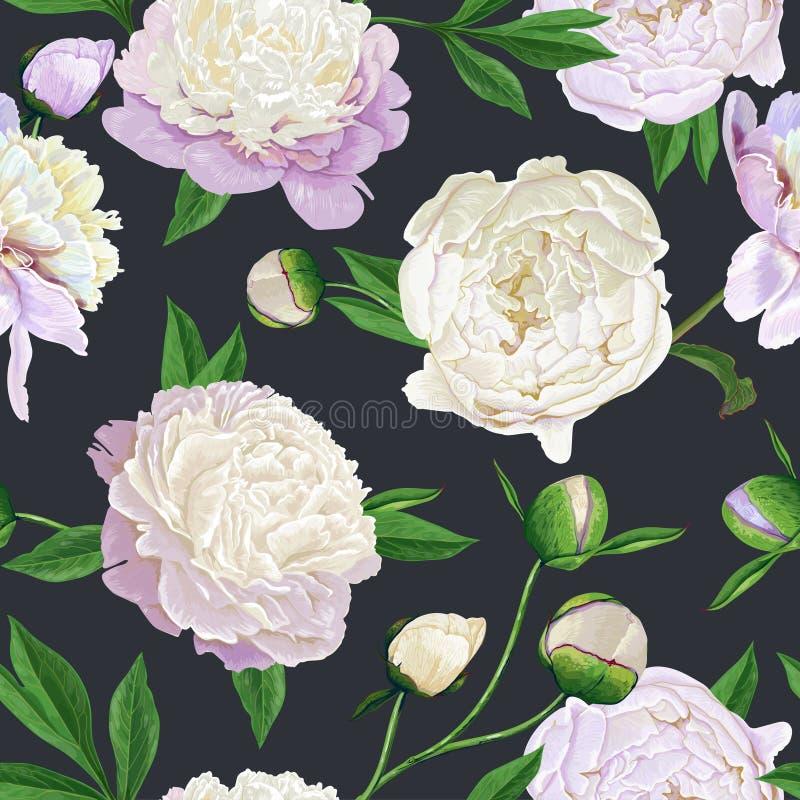 Kwiecisty Bezszwowy wzór z Białymi peoniami Wiosny kwitnienie Kwitnie tło dla tkaniny, druki, Ślubny zaproszenie ilustracji