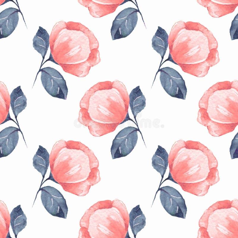 Kwiecisty bezszwowy wzór z czerwień kwiatami 06 ilustracji