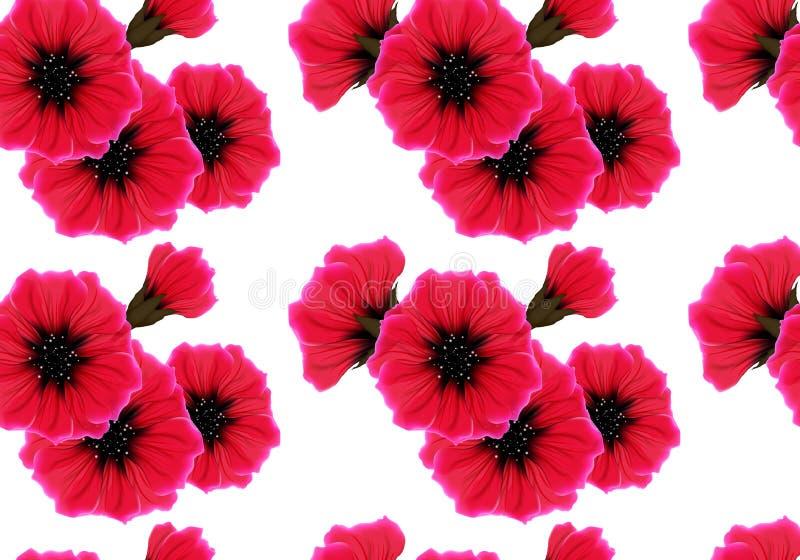 Kwiecisty bezszwowy wzór z czerwonym kwiatem i menchia płatkiem na bielu Jaskrawego żywego koloru wielostrzałowy pasyjny tło ilustracji