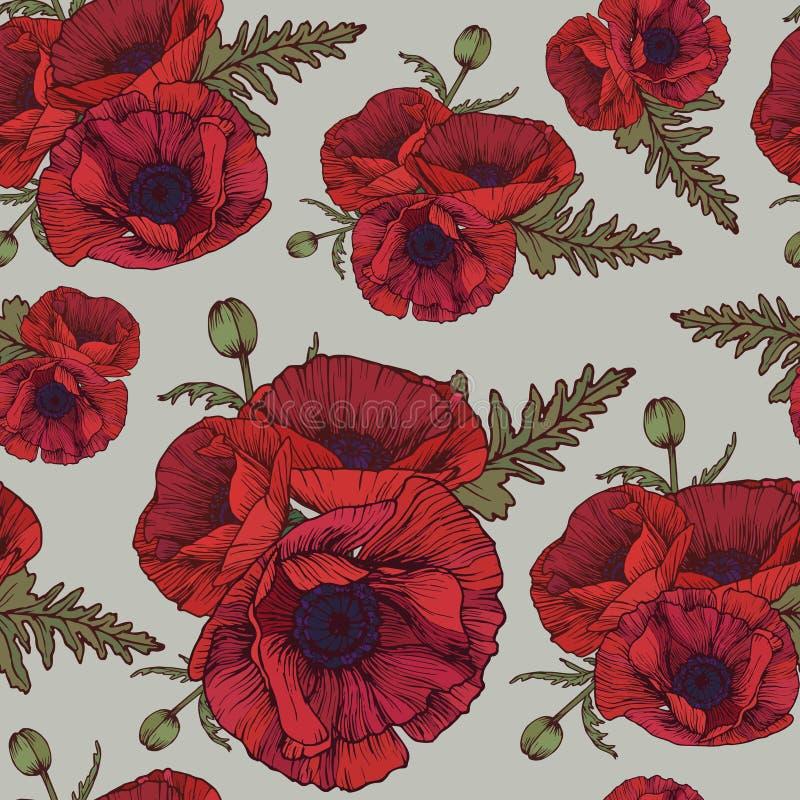 Kwiecisty bezszwowy wzór z czerwonymi maczkami ilustracji
