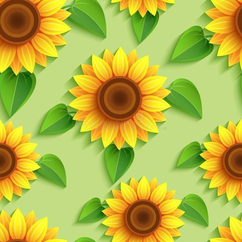 Kwiecisty bezszwowy wzór z 3d słonecznikami ilustracja wektor