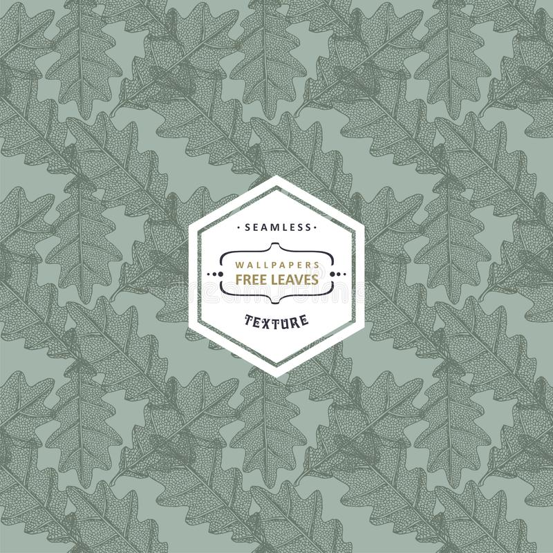 Kwiecisty bezszwowy wzór z drzewnymi liśćmi Klon, wiąz, dąb, osika ilustracji