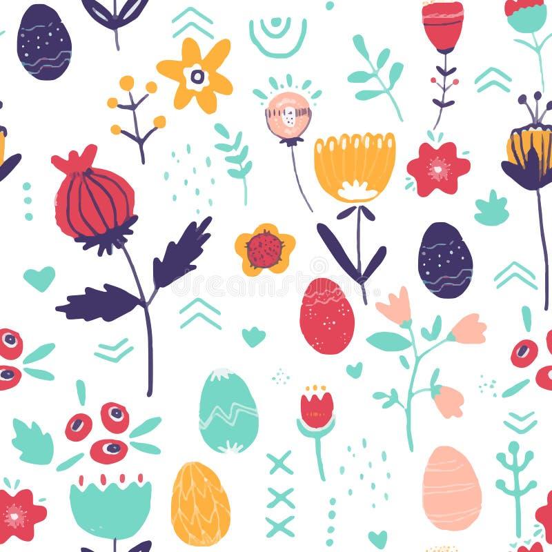 Kwiecisty bezszwowy wzór z jajkami, ptakami i stylizującymi kwiatami, Niekończący się tekstura dla wiosna projekta, dekoracja, wi ilustracji