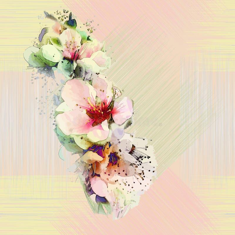 Kwiecisty bezszwowy wzór z jaskrawymi wiosna kwiatami ilustracja wektor