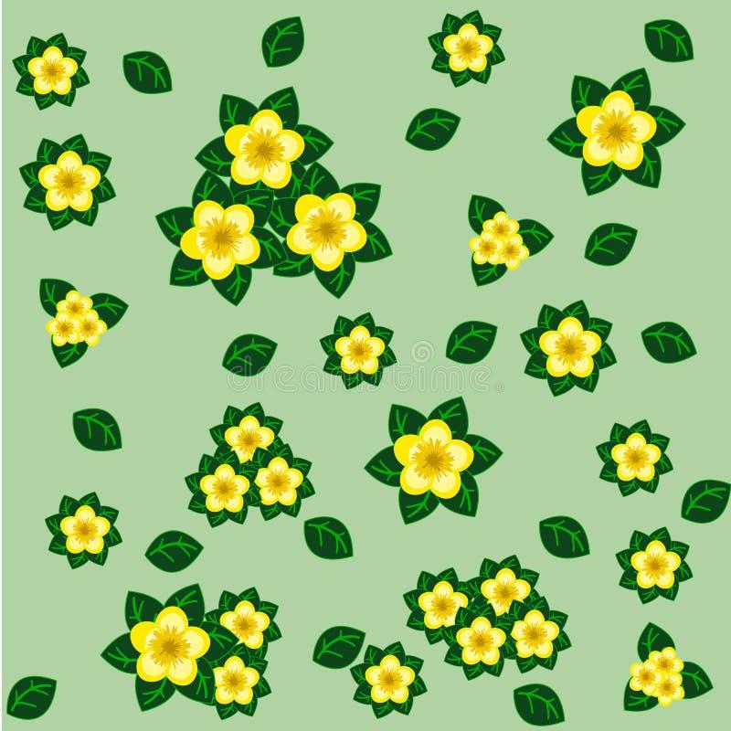 Kwiecisty bezszwowy wzór z kolorów żółtych kwiatami i zieleń liśćmi royalty ilustracja