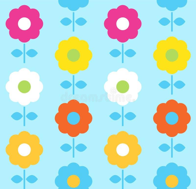 Wiosna kwiatu bezszwowy wzór błękitny i kolorowy - royalty ilustracja