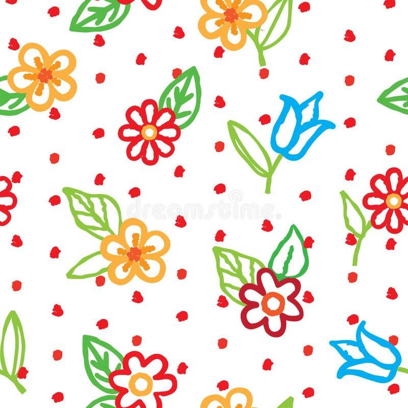Kwiecisty bezszwowy wzór z kwiatami i liśćmi Ornamentacyjny backg royalty ilustracja