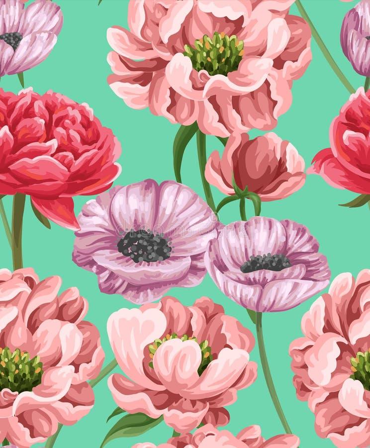 Kwiecisty bezszwowy wzór z popies, peoniami i różami, ilustracja wektor