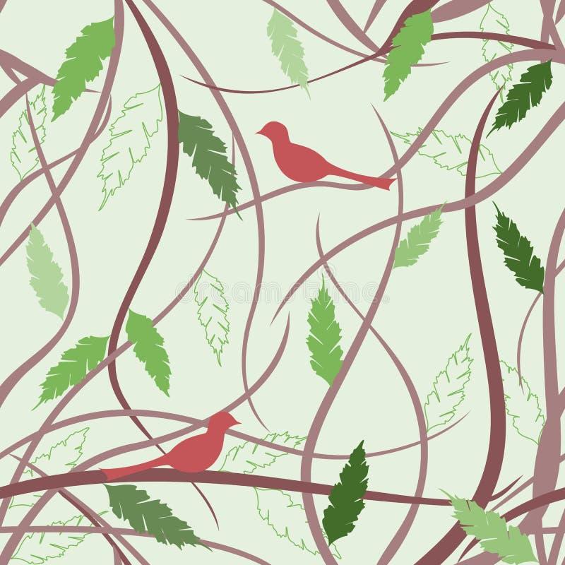 Kwiecisty bezszwowy wzór z ptakami ilustracji
