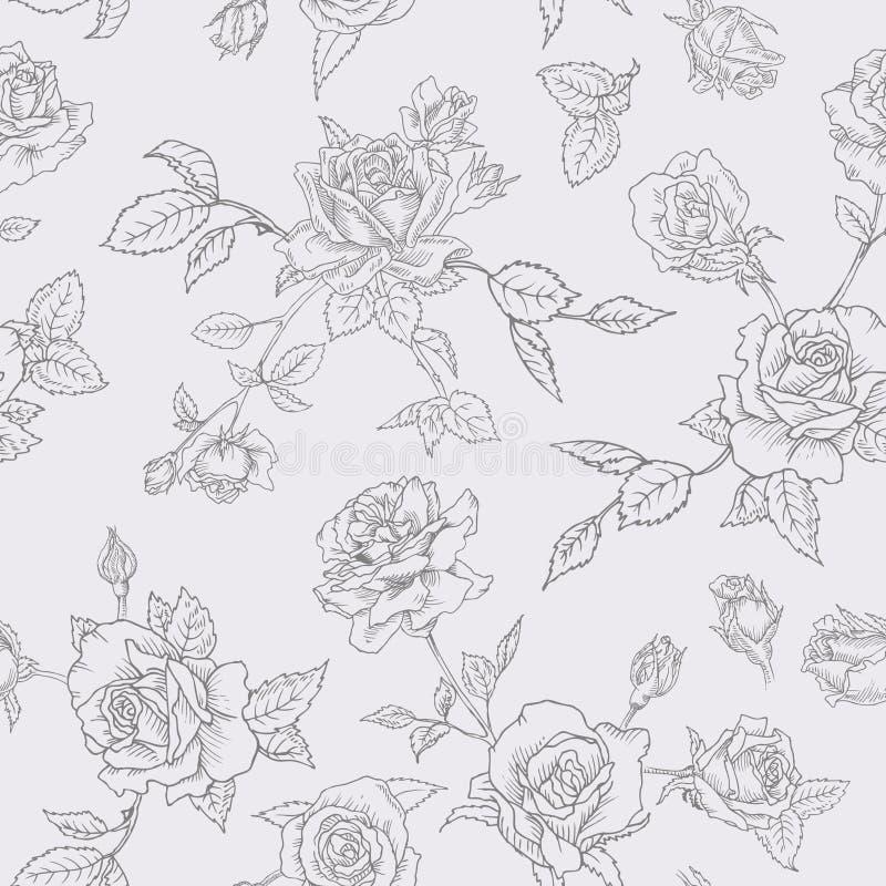 Kwiecisty Bezszwowy wzór z różami w Kreślącym konturu stylu Kwiatu Monochromatyczna ręka Rysujący tło dla tkaniny ilustracja wektor
