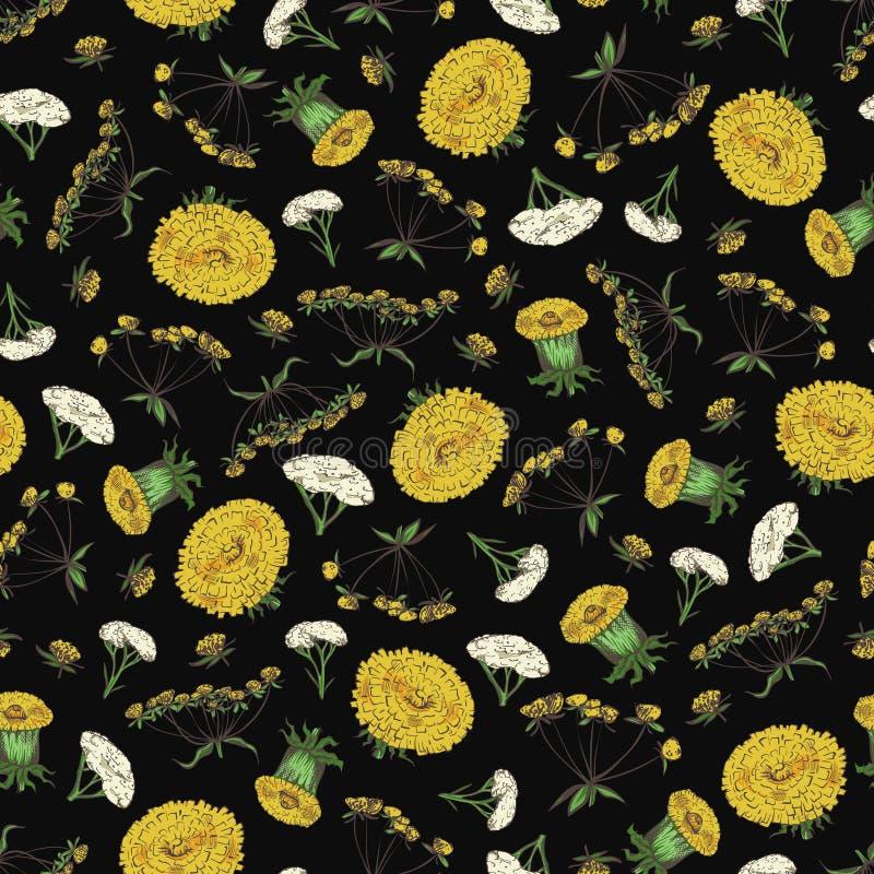 Kwiecisty bezszwowy wzór z wiosna kwiatami - fasonuje bezszwową teksturę z żółtymi i białymi kwiatami royalty ilustracja