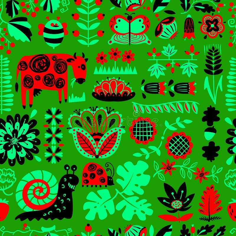 Kwiecisty bezszwowy wzór z zwierzętami i insektami ilustracji