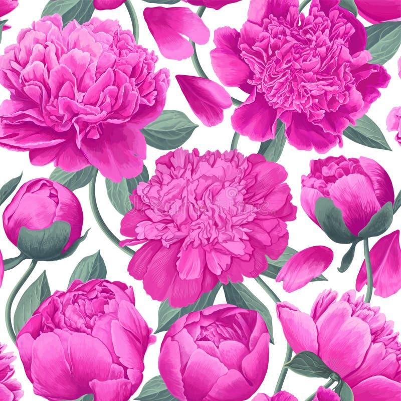 Kwiecisty bezszwowy wz?r z r??owymi peoniami Wiosna kwitnie tło dla druków, tkanina, zaproszenie karty, ślubna dekoracja royalty ilustracja