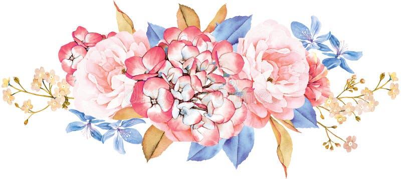 Kwiecisty bukiet robić róże, błękitów liście, gałąź na bielu ilustracji