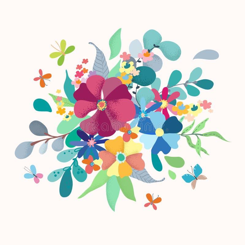 Kwiecisty bukiet z prostymi kolorów kwiatami ilustracja wektor
