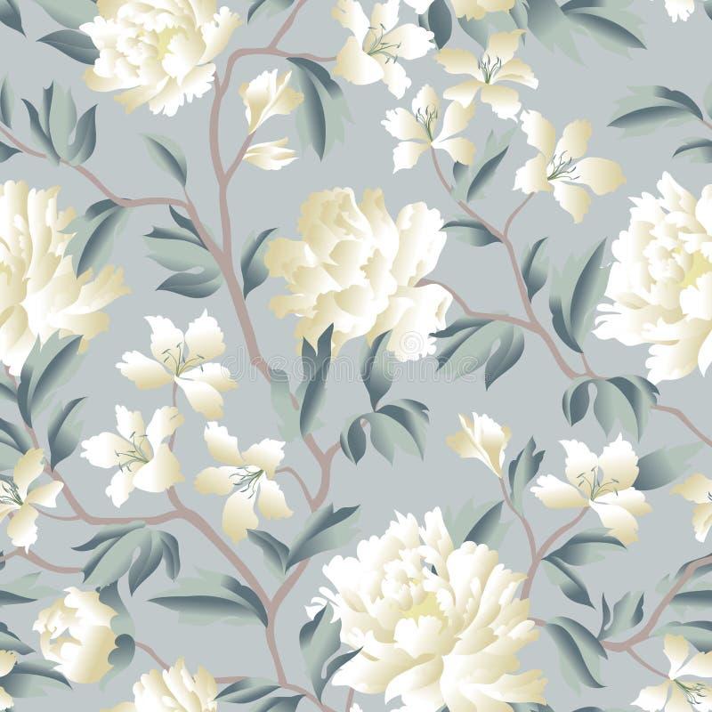 Kwiecisty Chiński bezszwowy wzór Ogrodowy kwiatu tło royalty ilustracja
