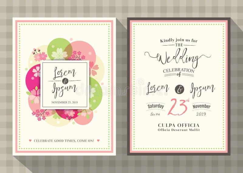Kwiecisty czereśniowego okwitnięcia zaproszenia karty ślubny szablon ilustracja wektor