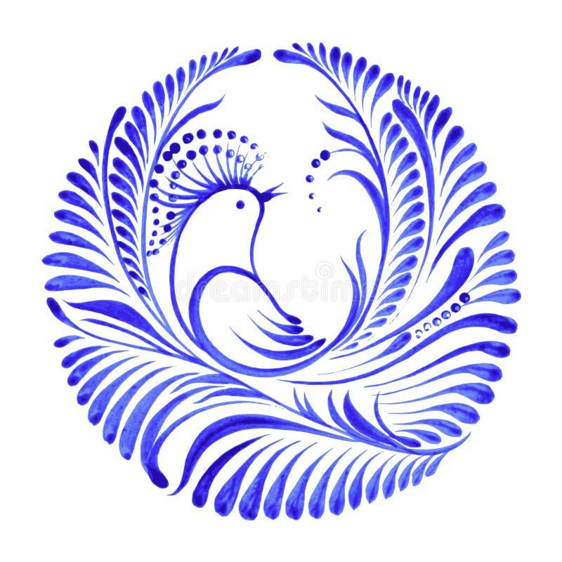 Kwiecisty dekoracyjny ornamentu ptak raj ilustracja wektor